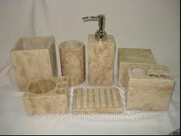 unique dark travertine marble bathroom accessories sets soap and