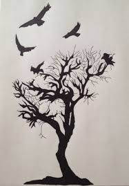 birds flying from tree black ink flying birds and tree