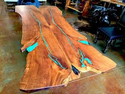 live edge table with turquoise inlay mesquite wood dining table freeform style with turquoise inlay