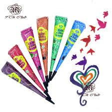 aliexpress com buy 6pcs colored golecha henna tattoo paste cream