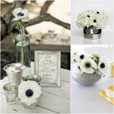 black and white centerpieces a is for anemone flowers 101 forevermore events wedding