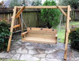 outdoor garden solid wood patio swing ideas with hanging chain outdoor garden custom wooden patio swing design with star ornaments and large frame