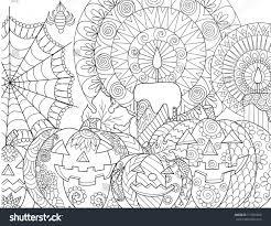 halloween pumpkincandlesspidercobweb coloring book page