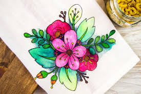 floral coloring book styled diy tea towel diycandy com
