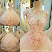 china pink wedding dress lace flowers bridal wedding gown pv315