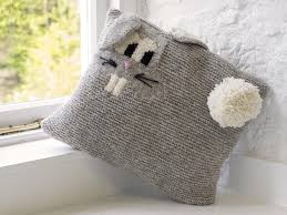Patterns For Knitted Cushion Covers Ramsey The Rabbit Cushion Cover Aran Pattern New Lanark Wool And