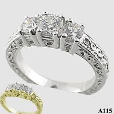 zirconia stone rings images Sterling silver 3 stone antique ring 1 ctw cz cubic zirconia ring jpg