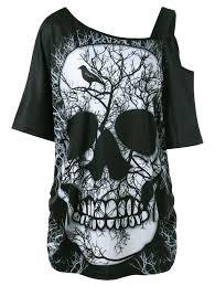 plus size skew collar skull t shirt in black 5xl sammydress