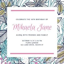pink pattern floral 18th birthday invitation templates by canva