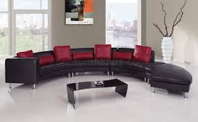 Tufted Living Room Set Living Room Tufted Leather Modern Sectional Sofa In Black With