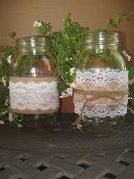 wedding burlap lace mason jar sleeves decor by ohonefineday via