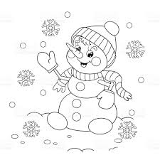 coloring page outline of cartoon snowman stock vector art