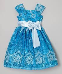 kid fashion blue floral sequin a line dress infant toddler