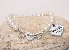 flower girl charm bracelet pearl bracelet with ribbon charm jewelry