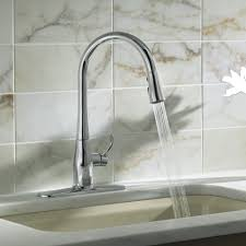silver kohler kitchen sink faucets wall mount two handle pull out