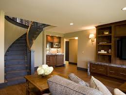 open staircase to basement basement traditional with tv