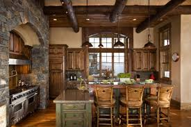 Rustic Cabin Kitchen Cabinets Rustic Kitchen Design And Decoration Using Grey Stone Kitchen Wall