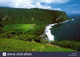 waipio valley with the black sand beach surrounded by green