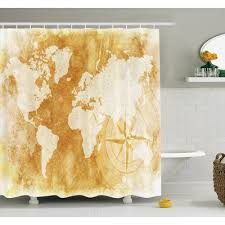 Shower Curtain World Map Zoomie Kids Susanna Old Paper Treasure Map Shower Curtain