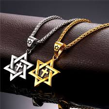stainless steel necklace pendant images Collare magen david star necklaces pendants gold color stainless jpg