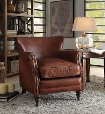 leeds vintage dark brown top grain leather wood accent chair