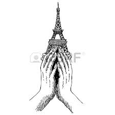 freehand sketch illustration of eiffel tower peace symbol icon