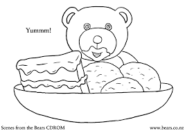 chocolate cake icecream teddy bear coloring pictures