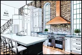 interior kitchen concept design drawing 2 professional rendering