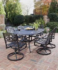 Metal Garden Chairs And Table Furniture Black Wrought Iron Patio Furniture With 4 Swivel Patio