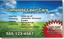 Mowing Business Cards Lawn Care Business Cards