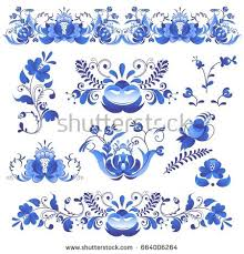 russian ornaments gzhel style painted stock vector 664006264