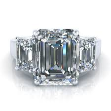 emerald stones rings images 4 90ctw three stone emerald cut moissanite ring gtj3715 emerald jpg