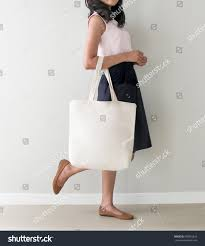 Bag Design Holding Blank Canvas Tote Bag Stock Photo 599335616