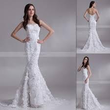3d floral appliques wedding dresses low back mermaid bridal gowns