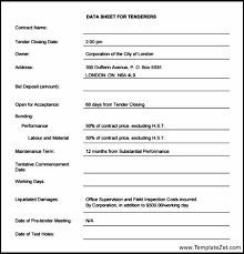 tender document template information required 9 tender