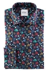 navy blue shirt with printed flowers slim fit shirt oscar of