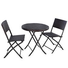 amazon com giantex 3pc folding round table u0026 chair bistro set