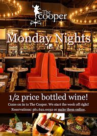 half price restaurant monday nights at the cooper max