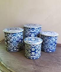 tin kitchen canisters delft nesting tins blue and white tin canister set set of 4