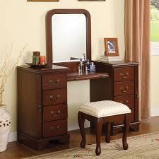 Make Up Dressers Bedroom Classic Brown Stained Teak Wood Mirror Vanity Table