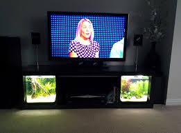 tv stand tropical fish slide out aquarium led lighting home
