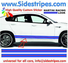 martini stripe martini racing 220cm x 8cm side stripe sticker set fits on any car