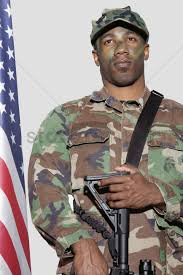 Soldier With Flag Us Marine Corps Soldier With M4 Assault Rifle Standing By American