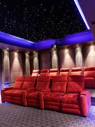 interior luxury white home theater room feature modern picture on