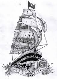 black and grey ship with rose and banner tattoo design