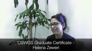 cswgs graduate certificate helena zeweri youtube