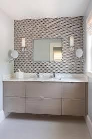 Brown Penny Tile Backsplash Contemporary Bathroom - Tile backsplash bathroom