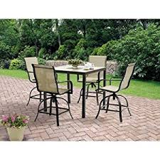 amazon com 5 piece high patio furniture dining set square tiles
