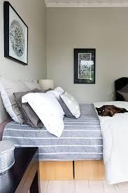 bedroom appealing cool bedroom modern stripe linen blue grey cat
