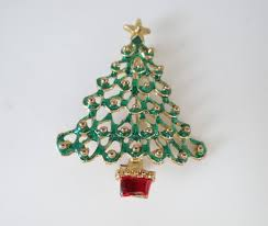 vintage christmas tree vintage christmas tree brooch pin with gold star and red base on a